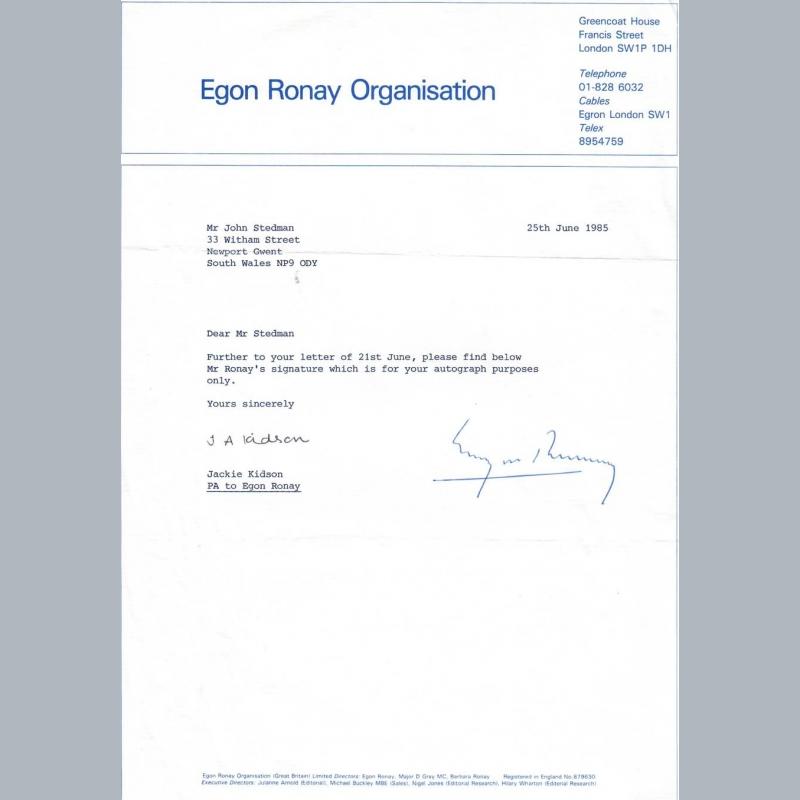Egon Ronay - Memorabilia UK