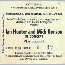 Mick Ronson & Ian Hunter Concert Ticket