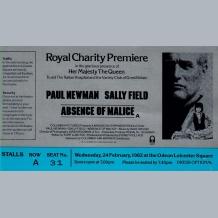 Paul Newman Film Premiere Ticket