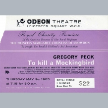 Gregory Peck Film Premiere Ticket
