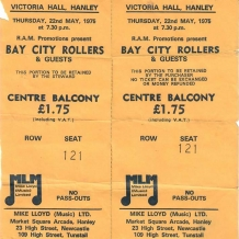 Bay City Rollers 1975 Concert Ticket