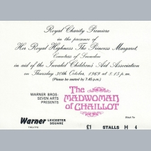 Madwoman of Chaillot Film Premiere Ticket