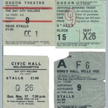 Bay City Rollers 1974 Concert Tickets