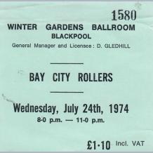 Bay City Rollers 1974 Concert Ticket