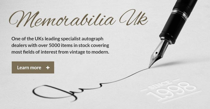 One of the UK's leading specialist autograph dealers with over 5000 items in stock covering most fields of interest from vintage to modern.
