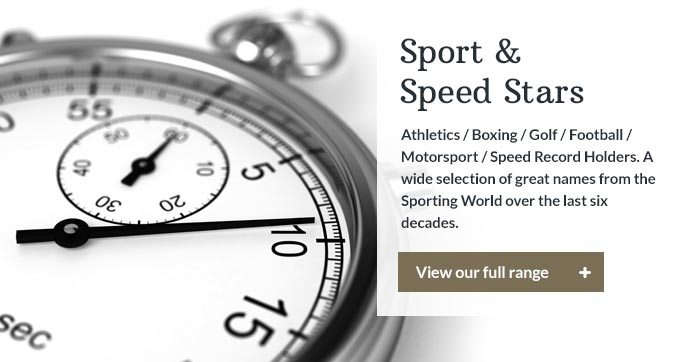Athletics / Boxing / Golf / Football / Motorsport / Speed Record Holders. A wide selection of great names from the Sporting World over the last six decades.